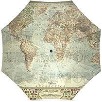 InterestPrint Vintage World Map Foldable Travel Umbrella (43 Inch)