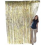 Metallic Gold Foil Fringe Curtain. 3 ft. x 8 ft. Foil