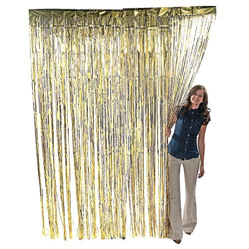Metallic Gold Foil Fringe Curtain. 3 ft. x 8 ft. Foil(Discontinued by manufacturer) (Gold Streamer Backdrop compare prices)