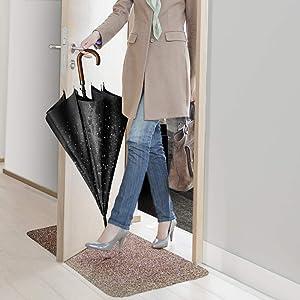 Indoor Super Absorbs Mud Doormat Latex Backing Non Slip Door Mat for Small Front Door Inside Floor Dirt Trapper Mats Cotton Entrance Rug 18x 28 Shoes Scraper Machine Washable Carpet Brownish Tan (Color: Brownish Tan, Tamaño: 18x28)