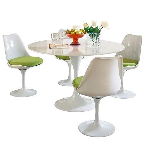 LexMod Eero Saarinen Style Tulip Dining Set with Green Cushions