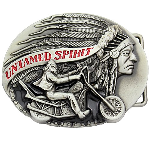 Fab Silver Native Indian Chief Feather Motorcycle Rodeo Costume Aztec Belt Buckle