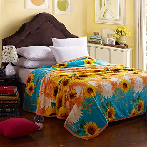 Mg Home Textile 2014 Four Season Collection Fleece Flannel Blanket Fashion Sunflower Pattern Twin Size back-78204