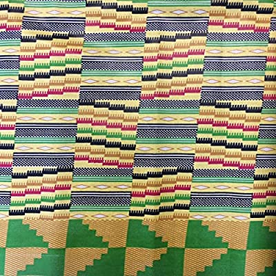 African Fabric Cotton Wax Print Kente 44'' wide sold By The Yard Yellow Green Black Red