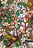 funlife® 17.7x39.3in Magnolia Stained Glass Window Panels Static Cling