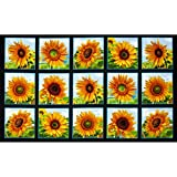 Sunflowers Squares 24 In. Panel Black Fabric By The Yard