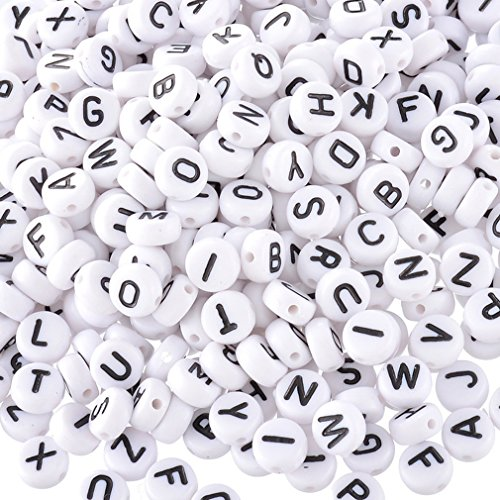 Souarts Mixed Acrylic Plastic Oblate Shape Alphabet Letter Loose Beads 7x7mm Pack of 1000pcs (White) (Alphabet Beads For Jewelry Making compare prices)