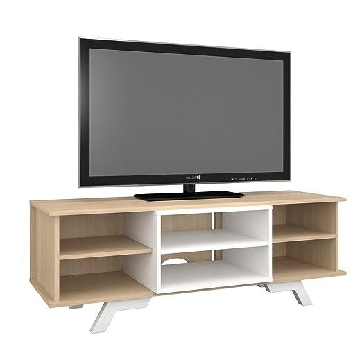 "Nexera 104039 Stiletto TV Stand with Insert, 54"", White and Natural Maple"