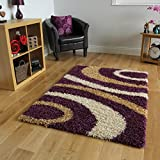 Tappeto a pelo lungo con design a spirale, colori: viola melanzana e beige - 4 Formati disponibili