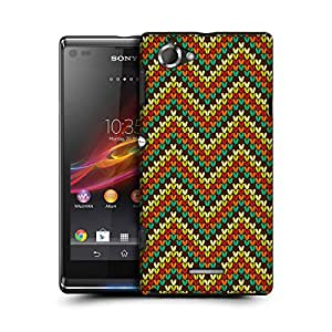 MobileGlaze Designs Knitted Cross Pattern Mixed Zigzag Hard Back Case Cover for SONY XPERIA L C2105