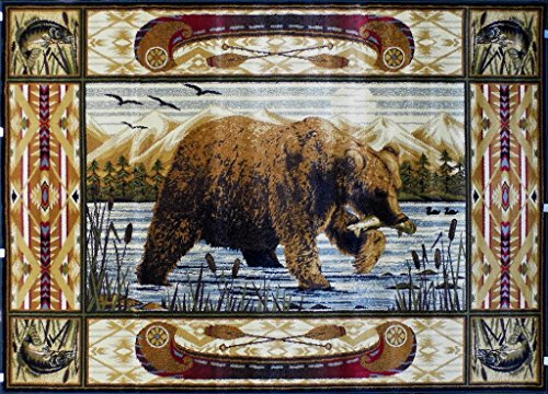 Area Rug Bear Fishing Scene (5 Feet 2 Inch X 7 Feet 1 Inch)