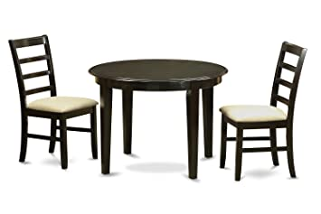 East West Furniture BOPF3-CAP-C 3-Piece Kitchen Table Set, Small, Cappuccino Finish