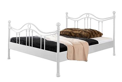Metallbett Kea Bett in weiß 180 x 200 cm mit Verzierungen an Kopfteil und Fußteil