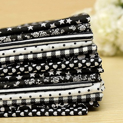 KINGSO 7PCS Cotton Fabric Bundles Quilting Sewing DIY Craft 19.7x19.7inch Black