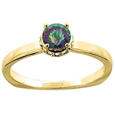 14ct Gold Natural Mystic Topaz Solitaire Engagement Ring Round 4mm Diamond Accents, sizes J - T