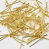 【クラフトパーツのチェロ P6.3.100 】 Tピン 100個セット 長さ 20mmゴールド カラー 線径 0.6×mm