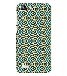 Printvisa Blue And Yellow Diamond Pattern Back Case Cover for vivo V1