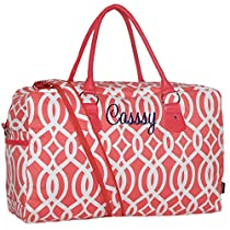 Personalized Coral Vine Womens Overnight Carry All Travel Duffel Bag By LD Bags