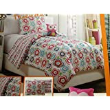 Pink Owls Twin Bedding Set - 3 pc Reversible Comforter, Sham, and Plush Owl