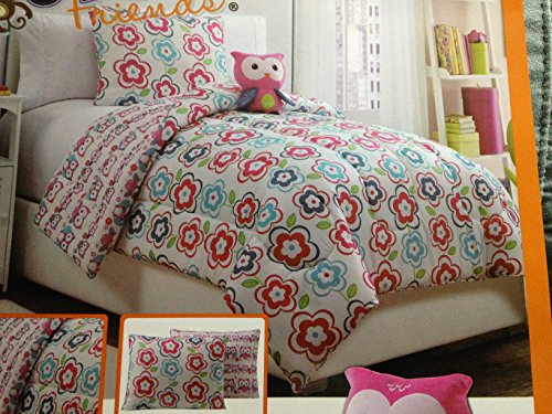 Purchase Pink Owls Twin Bedding Set - 3 pc Reversible Comforter, Sham, and Plush Owl