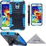 Samsung Galaxy S5 ケース Wisdompro docomo SC-04F/au SCL23対応 ギャラクシー耐衝撃カバー ハイブリッド 2重構造 ソフトTPU×ハードPC 凸凹柄 スタンド付き ブルー+ブラック