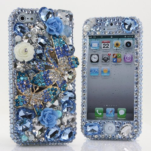 Great Sale BlingAngels® 3D Luxury Bling iphone 5 5s Case Cover Faceplate Swarovski Crystals Diamond Sparkle bedazzled jeweled Design Front & Back Snap-on Hard Case (100% Handcrafted by BlingAngels) (Blue Double Butterfly Design)