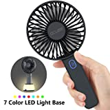 OCUBE Handheld Fan, Mini Hand Held Fan with 7 Color LED Light Base, 2000mAh Battery Operated USB Rechargeable Desk Fan, 3 Speeds Electric Portable Personal Cooling Fan for Home Office Travel (Black) (Color: Classic Black)