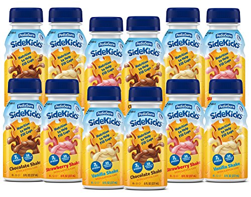 PediaSure SideKicks, Nutritional Protein Shake for Kids 8 fl oz (12 Count) Variety Pack Drinks with Strawberry, Chocolate, Vanilla. Contains 25 Vitamins, Minerals, Suitable for Lactose Intolerance (Medifast Blender Bottle compare prices)