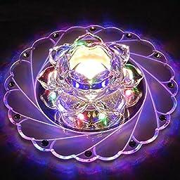 OAGTECH Modern 3W LED Crystal Lotus Ceiling Light Aisle Bedroom Living Room Home Decor Lamp 220V (NO. 005)