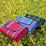 New Picnic Blanket Lightweight Compact, Waterproof Quick Drying Best for the Beach, Camping, Travel, Hiking, Festivals Anchor Pockets, 4 Free Stakes and Carry Bag (Blue)