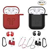 Airpods Case, Airpods Accessories Kits, 10 in 1 Protective Silicone Cover and Skin for Apple Airpods with Anti-Lost Airpods Strap, Airpods Watch Band Holder, Airpods Ear Hook(Black and red) (Color: Red and black)