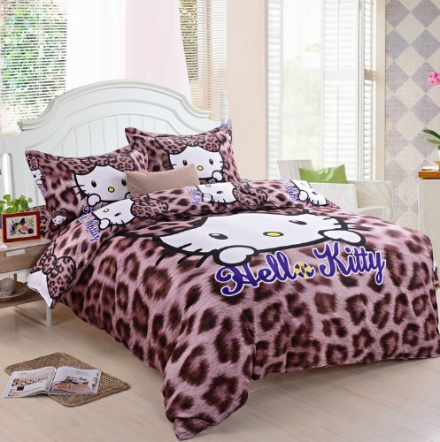 Lt Queen King Size 100% Cotton 4-Pieces Brown Leopard Skin Hello Kitty Prints Girls Princess Character Cartoon Kids Gift Bedding Duvet Cover Set/Bed Linens/Bed Sheet Sets/Bedclothes/Bedding Sets/Bed Sets/Bed Covers/Bedroom Sets/5-Pieces Comforter Sets (5, front-657333