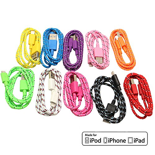Exotic Life 10Pcs/Lot 10 Colors Colorful 1M 3 Feet Fabric Braided Flat Usb Data Sync Charger Cable Cord For Iphone 6, Iphone 6 Plus,Iphone 5, 5C, 5S ,Ipod Touch 5