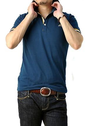 FLAG ON CREW ゆうパケット発送 メンズ 衿裏 カラー配色 スタンドカラー ワンポイント 刺繍 半袖 ポロシャツ