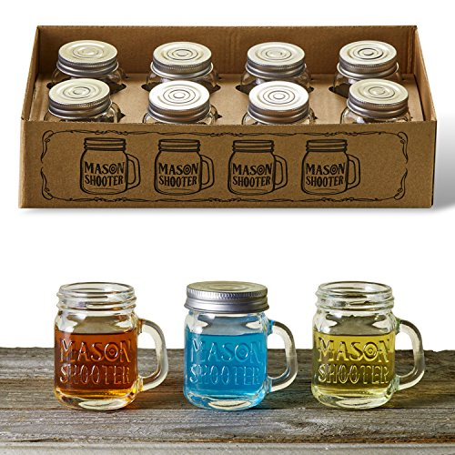 Hayley Cherie - Mason Jar Shot Glasses with Lids (Set of 8) - Mini Mason Shooter Glass with Handles - 2 Ounces (Mason Jars With Lids Set Of 2 compare prices)