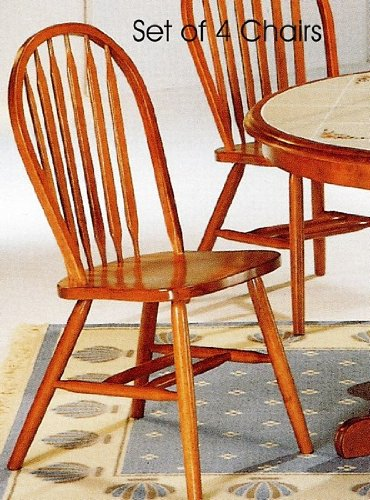 Set of 4 Oak Finish Windsor Dining Side Chairs (Windsor Side Chair compare prices)