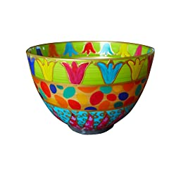 hand painted colourful bowl art