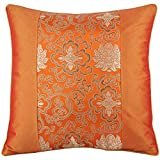 Silky Decorative Embroidered Oriental Cushion Cover / Pillow Case - Orange