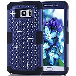 Note 5 Case,SAVYOU Diamond Studded Crystal Rhinestone 3 in 1 Hybrid Shockproof Cover Silicone Silicone and Hard PC Case For Samsung Galaxy Note 5 (Blue Black)