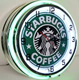 STARBUCKS COFFEE 18″ NEON LIGHT WALL CLOCK ESPRESSO CAFE SHOP ADVERTISING SIGN