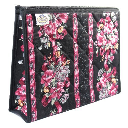 cosmetic-bag-full-plastic-lining-two-interior-side-pockets-pink-flowers-black-background-trim-cotton
