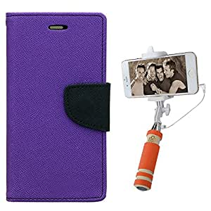 Aart Fancy Diary Card Wallet Flip Case Back Cover For Mircomax Yureka - (Purple) + Mini Aux Wired Fashionable Selfie Stick Compatible for all Mobiles Phones By Aart Store