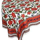 Handloom Fabric Linen Table Cloth Rectangular Floral Indian