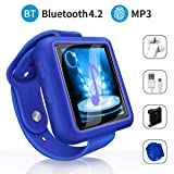 Mymahdi Sport Music Clip, 8GB Bluetooth MP3 Player with FM Radio/Voice Record Function,Touch Screen Player,Max Support up to 128GB, Blue