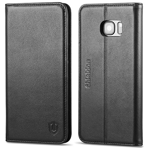 Galaxy S7 Edge Case, SHIELDON Genuine Leather Wallet Case, Premium Carry-all Flip Book Case /w Stand Feature & ID Credit Card Compartments [Magnetic Closure] for Samsung Galaxy S7 Edge, Black (Leather Edge Case compare prices)