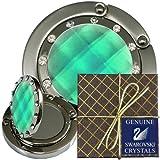 50 Chatt Green & Swarovski pp24 Crystal, FOLDING Mirror Hooks, Pouches, Gift Boxes