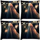 Snoogg City At Night Pack Of 4 Digitally Printed Cushion Cover Pillows 16 X 16 Inch