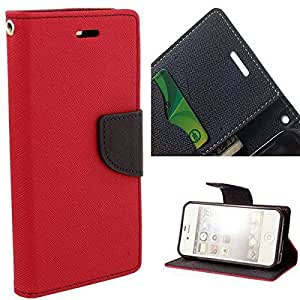 Aart Fancy Diary Card Wallet Flip Case Back Cover For HTC526 - (Red) by Aart Store