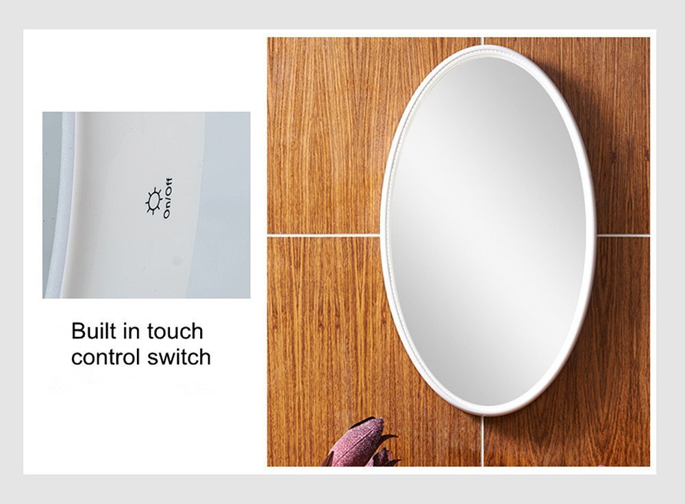 LED Wall Mirrors, 16.7x27.5 Inch Oval Mirror, NANAMI Framed Wall Mount LED Lighted Vanity Mirror for Bedroom with 2 Dimmer Modes controlled by Touch Sensor (27.5 x16.7x1.6 inches)