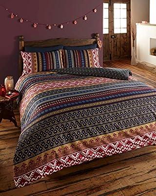 Orkney Reversible Print Quilt Duvet Cover Bedding Set Blue